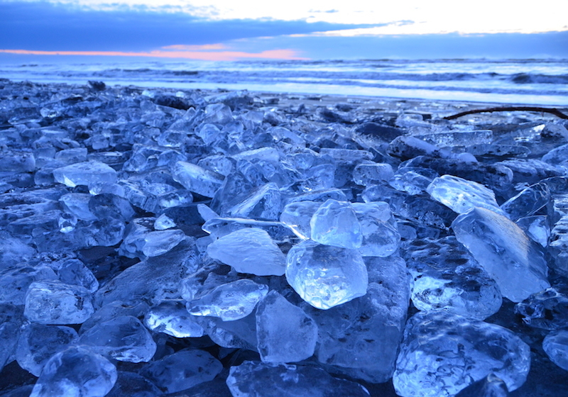 Jewelry ice along Otsu Beach in Toyokoro Town