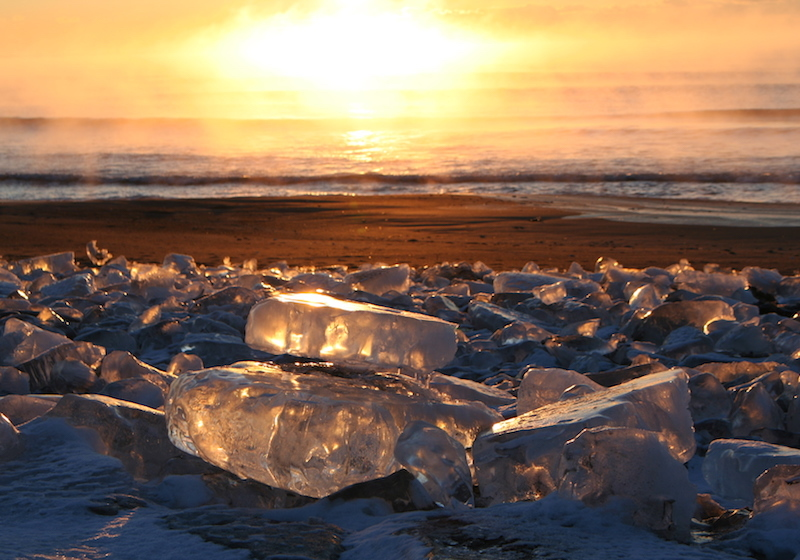 jewelry ice during sunrise