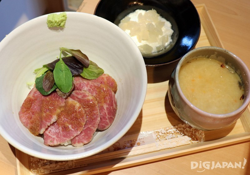 Tochigi Wagyu roast beef rice bowl, shimotsukare & soup set with dessert