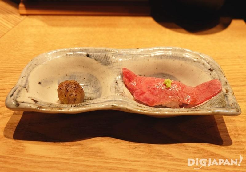 Yaki Shigure Miso และAburi nigiri จากเมนูMatsu (松)