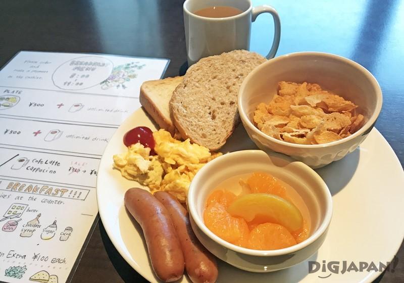 多加500日元就能享受K's House Kyoto的早餐