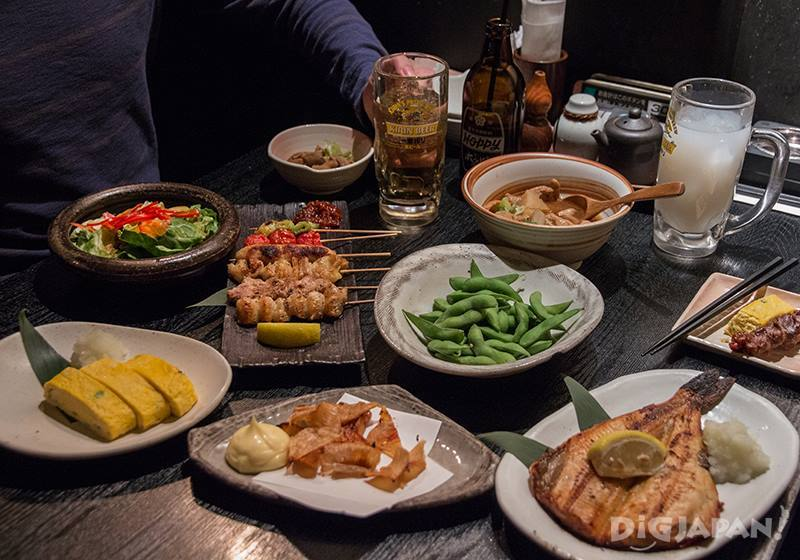 Food at a Japanese Izakaya