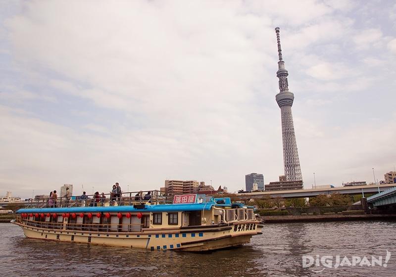 Yakatabune on the Sumida River in Asakusa, Tokyo