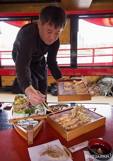 Komatsuya yakatabune, sendo serving tempura