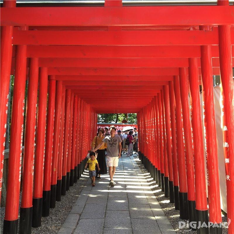 Red torii gates at Sanko Inari Shrine in Inuyama