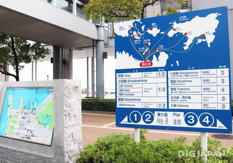 An easy-to-understand map of the ferry routes in Takamatsu Port