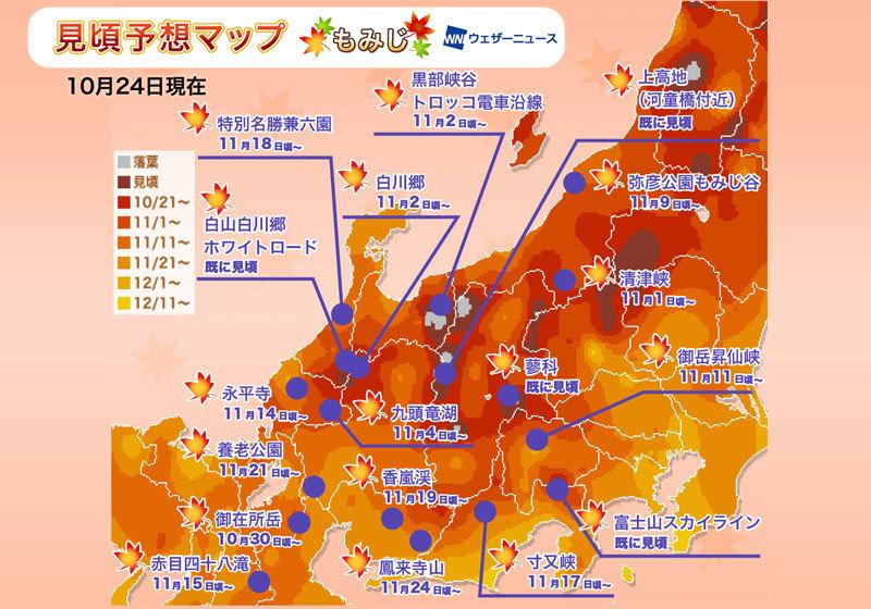 賞楓人氣區域:中部・北陸