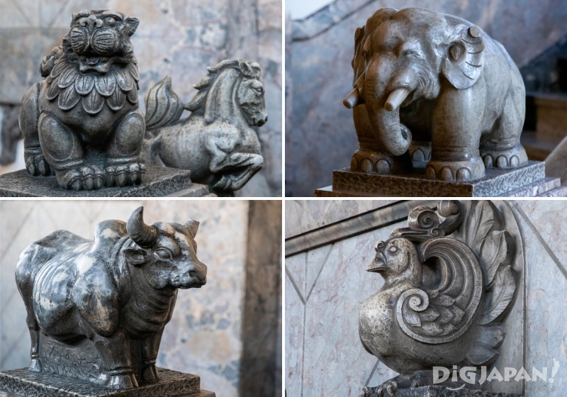 Scattered around the temple grounds are a lot of animal statues.
