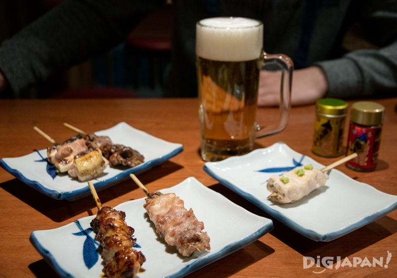Beer and yakitori at Yurakucho Gado-Shita