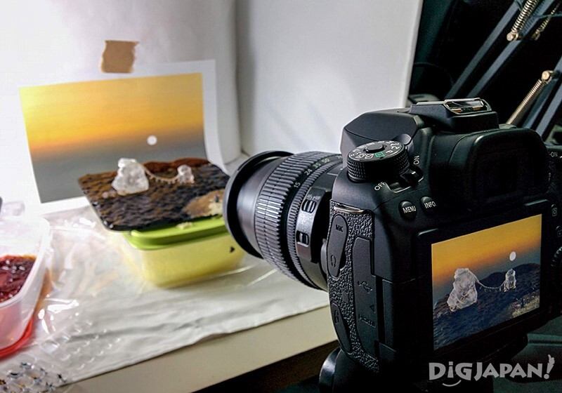 Recreating the Meoto Iwa (Wedded Rocks) in miniature: taking the shot