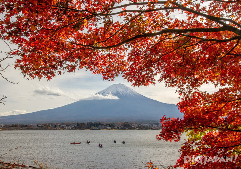 Mt. Fuji from Lake Kawaguchi with autumn leaves