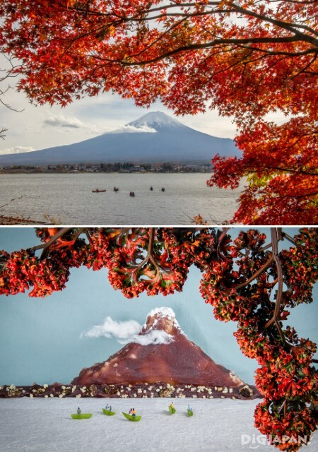 Recreating a view of Mt. Fuji in miniature