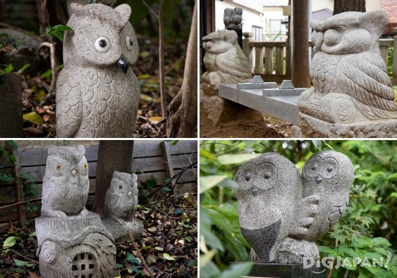 Owl statues at Zoshigaya Kishimojindo and Ikosan Homyoji