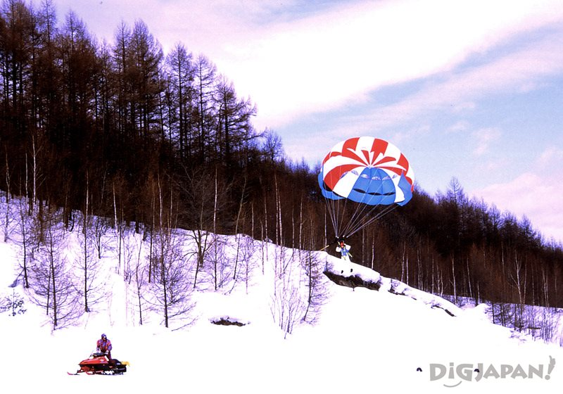 Parasailing over snow at Classe Snow Park Chitose