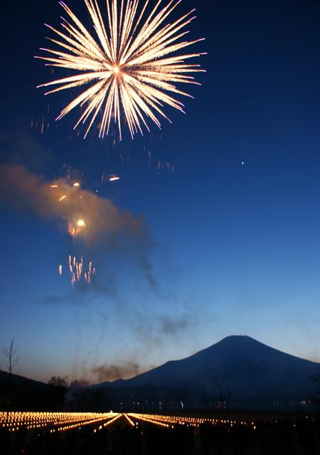山中湖富士山和花火
