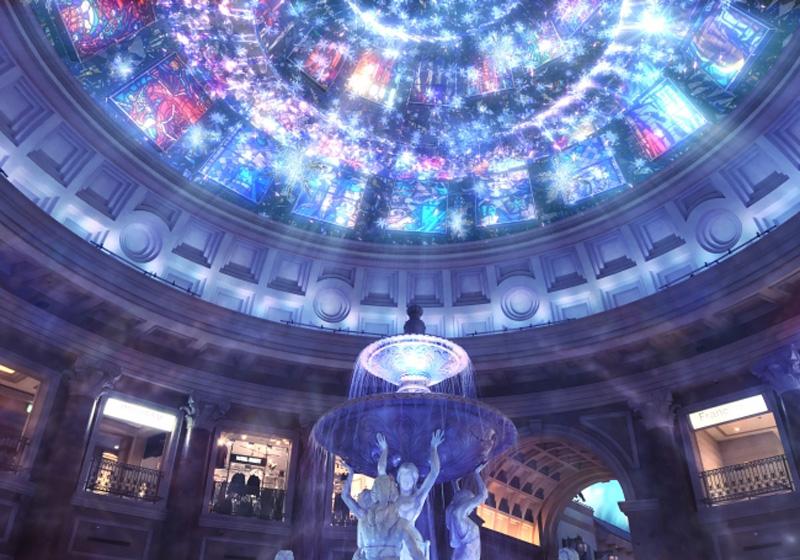 巨蛋型天花板和唯美的噴水廣場
