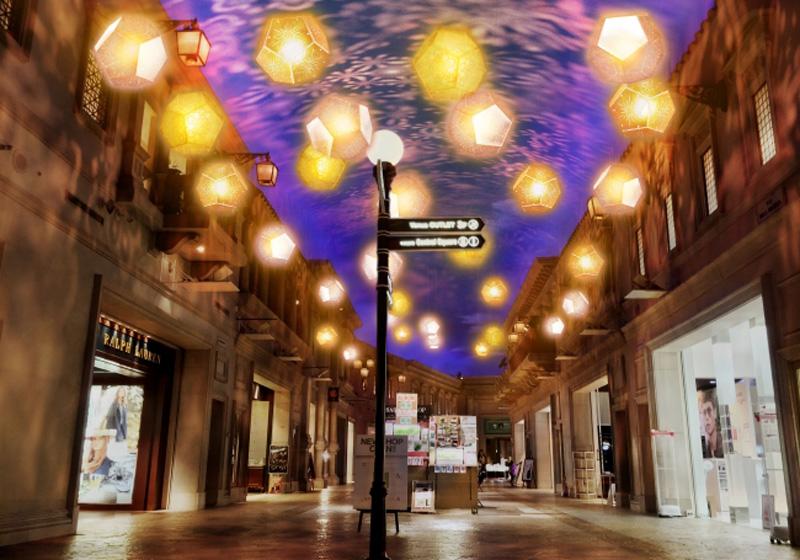 北區/南區大道也裝點上多處彩燈
