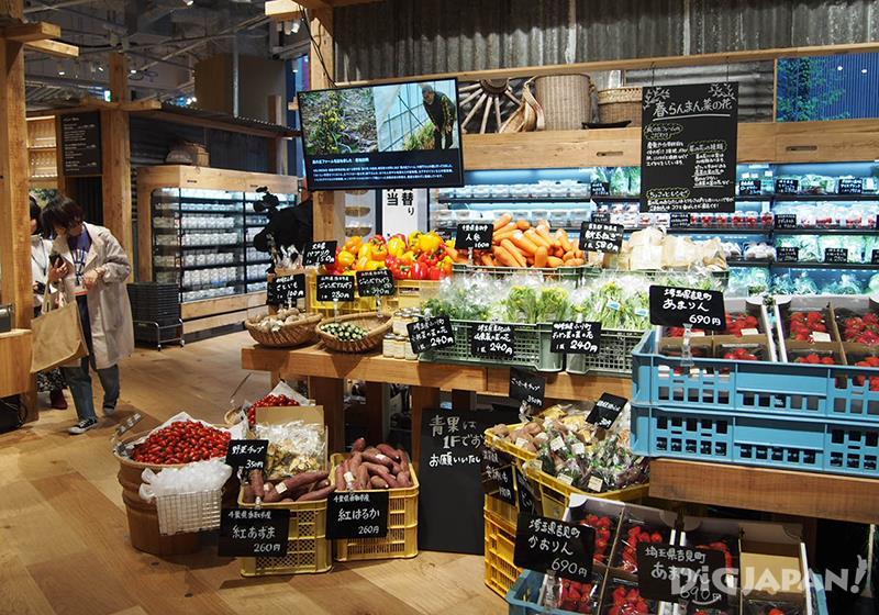 每天由農家直送,新鮮蔬果販賣區