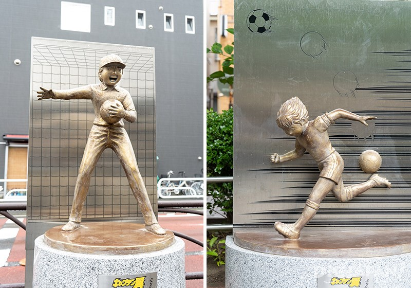Genzo Wakabayashi statue in Tateishi Michihiroba Square (left picture) and the Tsubasa Oozora statue in the Tateishi 1-chome playground (right picture)