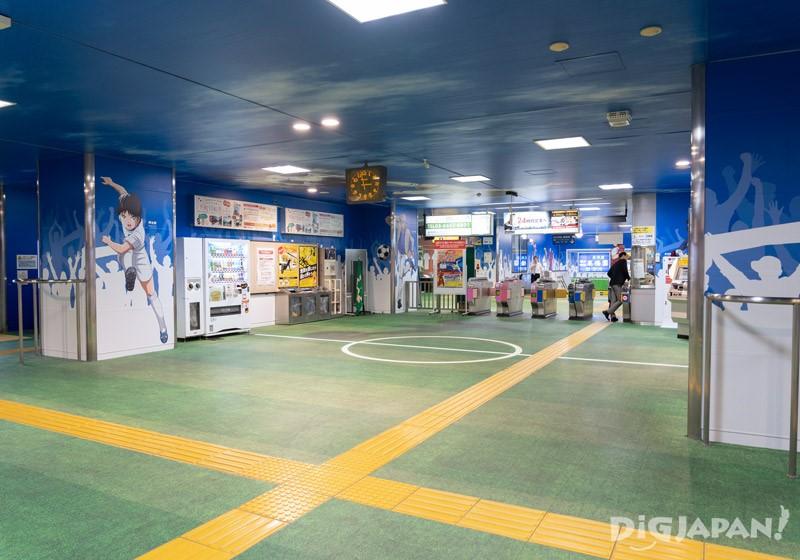 Captain Tsubasa soccer field in Yotsugi Station
