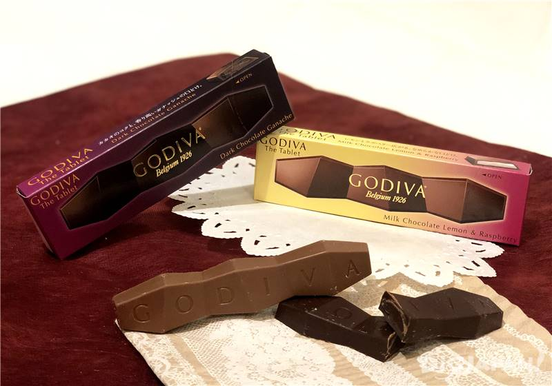 GODIVA the tablet: Milk Chocolate Lemon & Rasberry และ Dark Chocolate Ganache