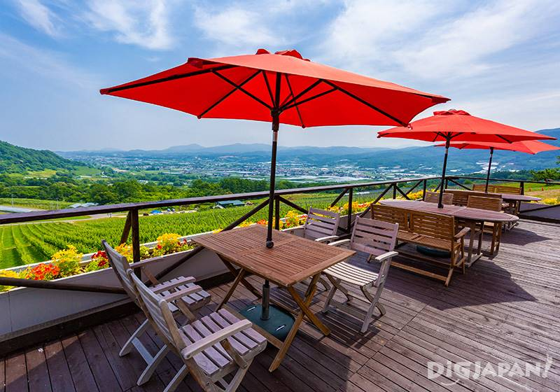The terrace seats. The sweet air and pleasant breeze pair well with the wine.