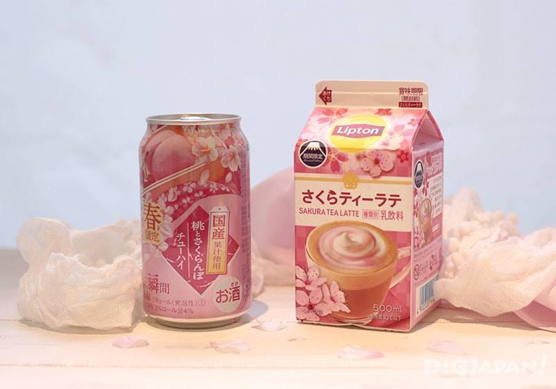 ชานมกลิ่นซากุระ และ แอลกอฮอลล์รสพีชผสมเชอร์รี่ซากุระ