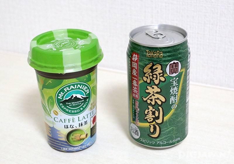 マウントレーニア ほな、抹茶 150円(森永乳業)/宝抹茶割り焼酎 153円(宝酒造)