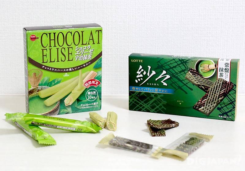 チョコラ エリーゼ:180円(ブルボン)/紗々 常盤抹茶:220円(ロッテ)