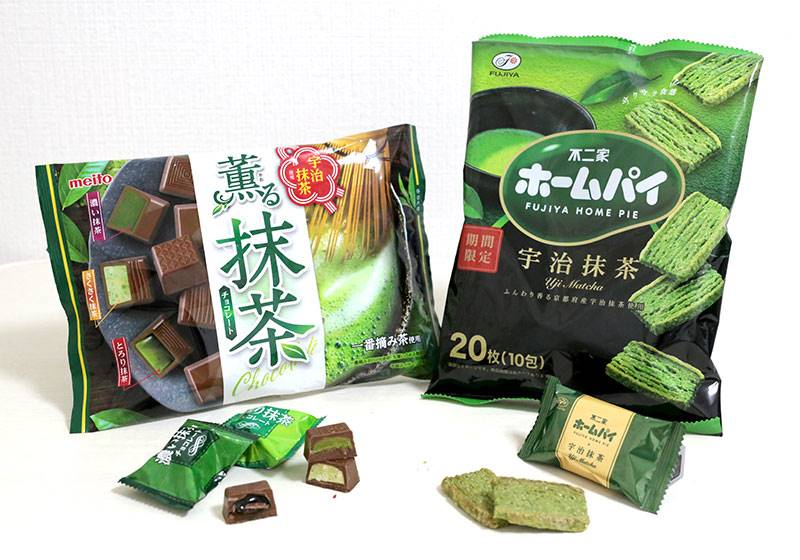 薫る抹茶チョコレート:299円(メイトー)/不二家抹茶ホームパイ:299円(不二家)