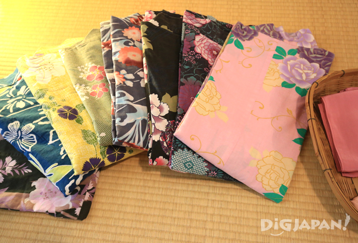 Choose from a selection of yukata