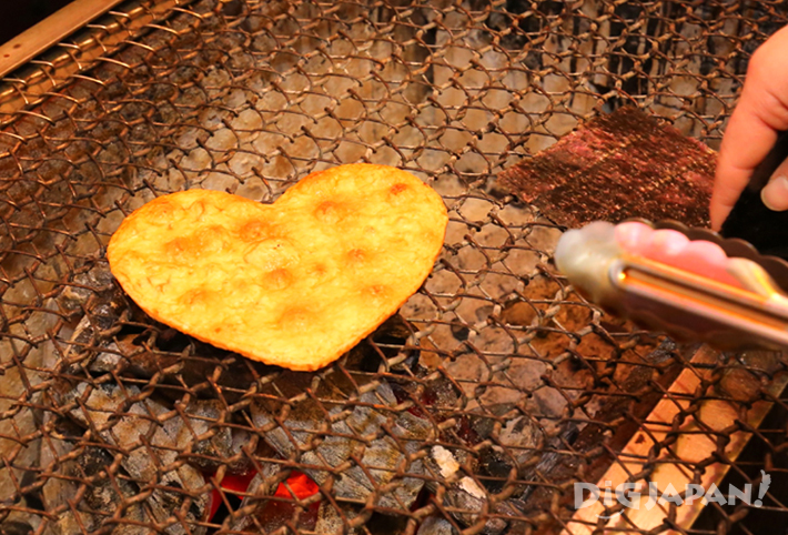 Heart-shaped senbei rice cracker