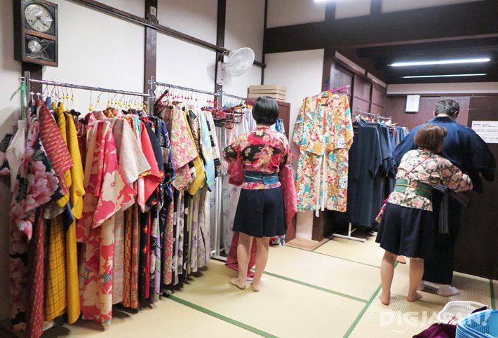 The selection of rental kimono available at Osaka Museum of Housing and Living (Osaka Kurashi No Konjaku Kan)