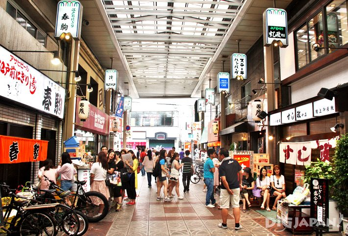 The sushi shops on 5-chome in Tenjinbashi-suji Shopping Arcade in Osaka